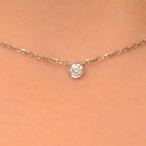 "0.20 Ct. Diamond By The Yard Single Station Necklace Man Made 14k Gold 14""15""16"""