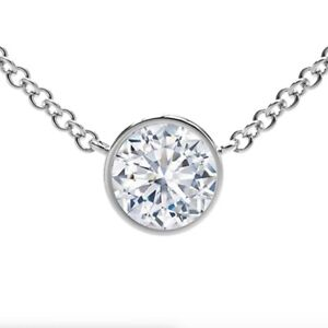 0.50 Ct. Diamond By The Yard Single Station Necklace Man Made 14k Gold 16