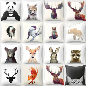 Cute Animal Pillow Cover Throw Pillow Case Sofa Cushion Cover Home Decor 18#x27;#x27; $3.99