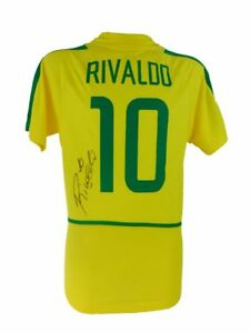 RIVALDO SIGNED BRAZIL WORLD CUP FOOTBALL WINNERS SHIRT 2002+PHOTO PROOF*SEE SIGN