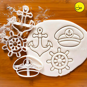 Set of 3 Nautical cookie cutters: Anchor Captain's Hat Ship's Wheel  wedding