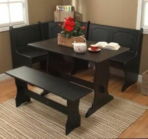3 pc Black Wooden Breakfast Nook Dining Set Corner Booth Bench Kitchen Table