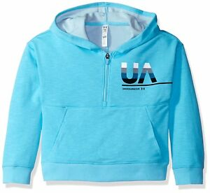 Under Armour Girls French Terry Hoody Venetian Blue Youth Small