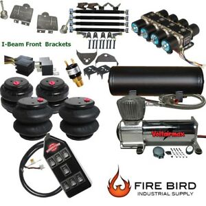 D Ford F100 Air Kit dc480 25 2600 Bags 1 2quot; Valve Black 7 Switch 5 Gal $1625.64