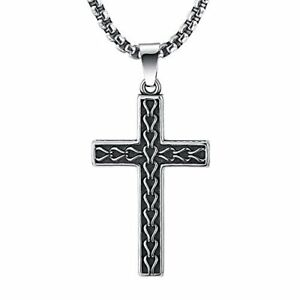 2ndLink Classic Black Mens Titanium Cross Necklace Pendant22.5