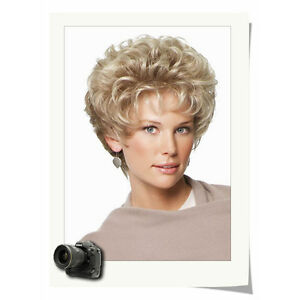 Fashion Women Chic Cut Layered Curly Hairstyle Blonde Color Synthetic Hair Wig