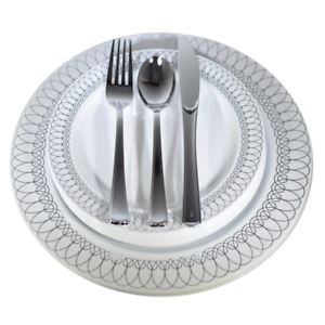 Dinner - Wedding Disposable Plastic Plates & silverware Set silver gold Oval