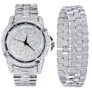 Men's Fashion Analog Iced Out CZ Heavy Stoned Watch & Bracelet SET WM 7754 S