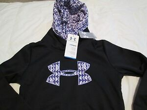 NEW Girls UNDER ARMOUR COLDGEAR Hoodie BlkPurple Geo BIG UA LOGO FREE SHIP!