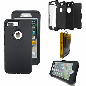 BLACK Case Cover Screen Protector for iPhone Plus Defender [Clip Fits Otterbox]