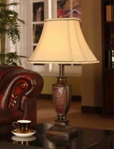 Set 2 Pair Bronze Red Table Lamp Set Light Fabric Shade Style Beautiful Lamps