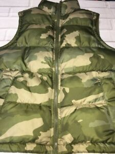 Old Navy Youth Size Medium Camo Camouflage Puffer Vest Woodland Deer Hunting