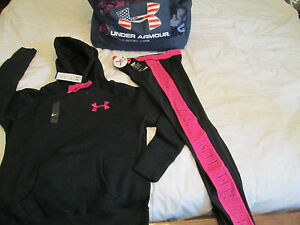 NEW Womens UNDER ARMOUR 2pc OUTFIT Compression Capri+Blk Hoodie Md FREE SHIP!
