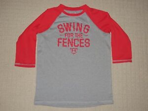 Boys Under Armour UA Loose Swing for the Fence 34 Sleeve Shirt Youth Large YLG