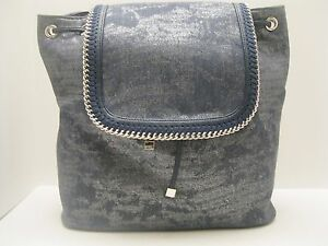 Purse INC Blue Denim Leather $99.50 NWT Back Pack Shoulder Bag Silver Chain L466