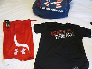 NEW Boys UNDER ARMOUR 2Pc OUTFIT Red Shorts+Blk BEAT ME DREAM ON YXL FREE SHIP