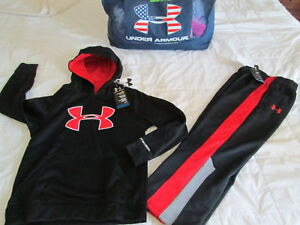 NEW Boys UNDER ARMOUR 2Pc Outfit BlkRed Hoodie+Pants COLDGEAR YSM FREE SHIP!
