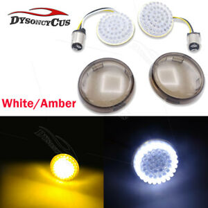 Bullet Style 1157 White/Amber LED Turn Signal Inserts+Cover Fit Harley Davidson