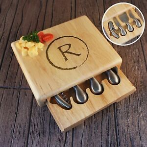 Personalized Cheese & Wine Cutting Board Tool Set Engraved with Monogram Options