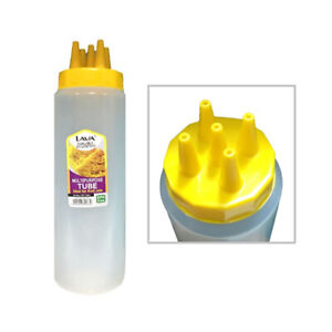 5 Hole Lid Plastic Squeeze Sauce Bottle Condiment Mustard Ketchup 20 Oz BPA Free