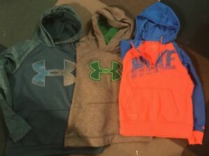 Lot 3 Boys Under Armour Nike Sweatshirts Youth Large Storm hoodies L XL
