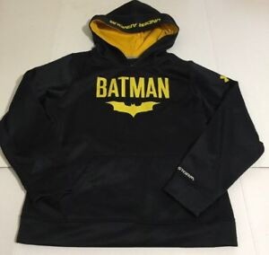 Under Armour Storm Batman Boys Youth Black Hooded Sweatshirt Hoodie Large YLG