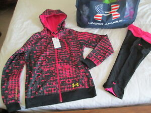 NEW Womens UNDER ARMOUR Black&Pink 2pc Outfit Geo Hoodie + Capri Sm FREE SHIP