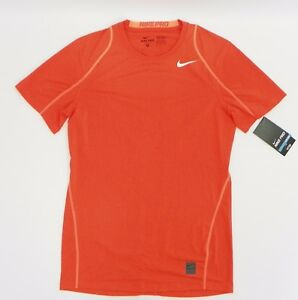 Nike Mens Short Sleeve Pro Cool Fitted Dri-FIT Shirt Team Orange 703104 S JS429