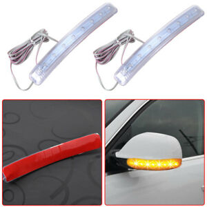 2x Universal Yellow Car Auto Side Mirror Amber Indicator Soft Turn Signal Light