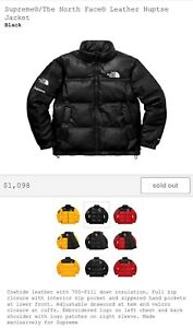 Supreme X The North Face Leather Nuptse Jacket Small Black FW17 Confirmed