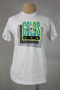 vintage Golds gym t-shirt L new 80's 90's gray weightlifting gym muscle