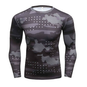New Camouflage Military T Shirt Bodybuilding Fitness Men Quick Dry Camo Long Sle