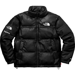 Supreme FW 2017 SupremeThe North Face Leather Nuptse Jacket Black Large READY