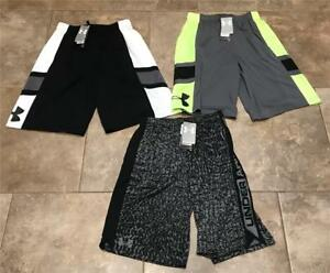 Boys Under Armour Shorts LOT x3 NEW WITH TAGS size Large 12 BLack Lime $88 RV