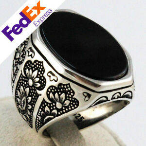 925 Sterling Silver Jewellery Turkish Handmade Ottoman Onyx Men's Luxury Ring