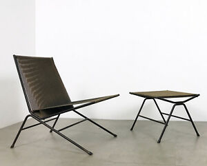 Allan Gould Bow String Lounge Chair Ottoman Iron Woven Rope Mid Century Modern