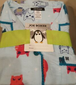Joe Boxer Ladies Flannel Pajamas Aqua Blue with Owls Sz Sm or Med - NWT!