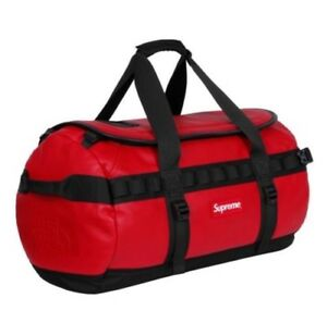 Supreme x The North Face Duffle Duffel Bag Red Leather Base In Stock! Backpack