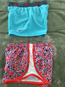 NIKE DRI-FIT ATHLETIC RUNNING LINED GYM SHORTS GIRLS SMALL LOT OF 2