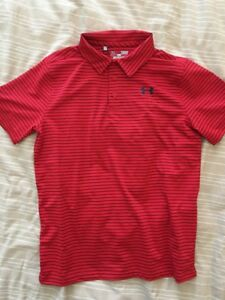 Under Armour Boys Striped Golf Polo Shirt 1293963 Youth Large New Red Blue