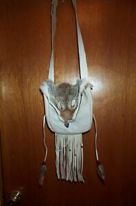 BLACK POWDER MOUNTAIN MAN  COYOTE FACE  LEATHER POSSIBLE BAG