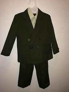 3pc Amherst sz3T olive green SUIT JACKET BLAZER SPORT COAT & PANTS & dress shirt