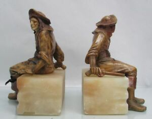 AWESOME PAIR METAL & STONE BOOKENDS PIRATES SCULPTURES WITH FLINT LOCKS PISTOLS