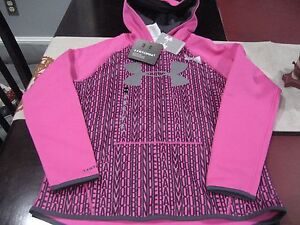 GIRLS YOUTH UNDER ARMOUR STORM HOODIE SIZE YLG YOUTHS LARGE PINKGRAY NWT