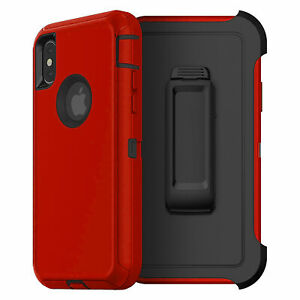 For iPhone XR RED BLACK Defend Case Cover {Clip Fits Otterbox} + Screen Tempered