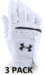 Under Armour UA Strikeskin Tour Glove White Golf Glove 3 Pack- Pick Hand