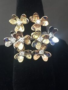 Diamond Rolling Flower Ring With Studs 14k Tri-color Gold