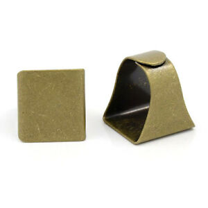 5PC Adjustable Square Glue Pad Brass Ring Blanks Antique Bronze Findings 17x19mm $8.86