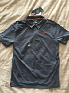 Under Armour Boys Striped Golf Polo Shirt 1293963 Youth XL New Gray Orange