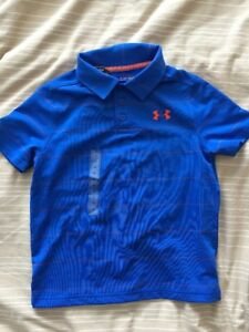 Under Armour Boys Striped Golf Polo Shirt 1293963 Youth XS New Blue Orange
